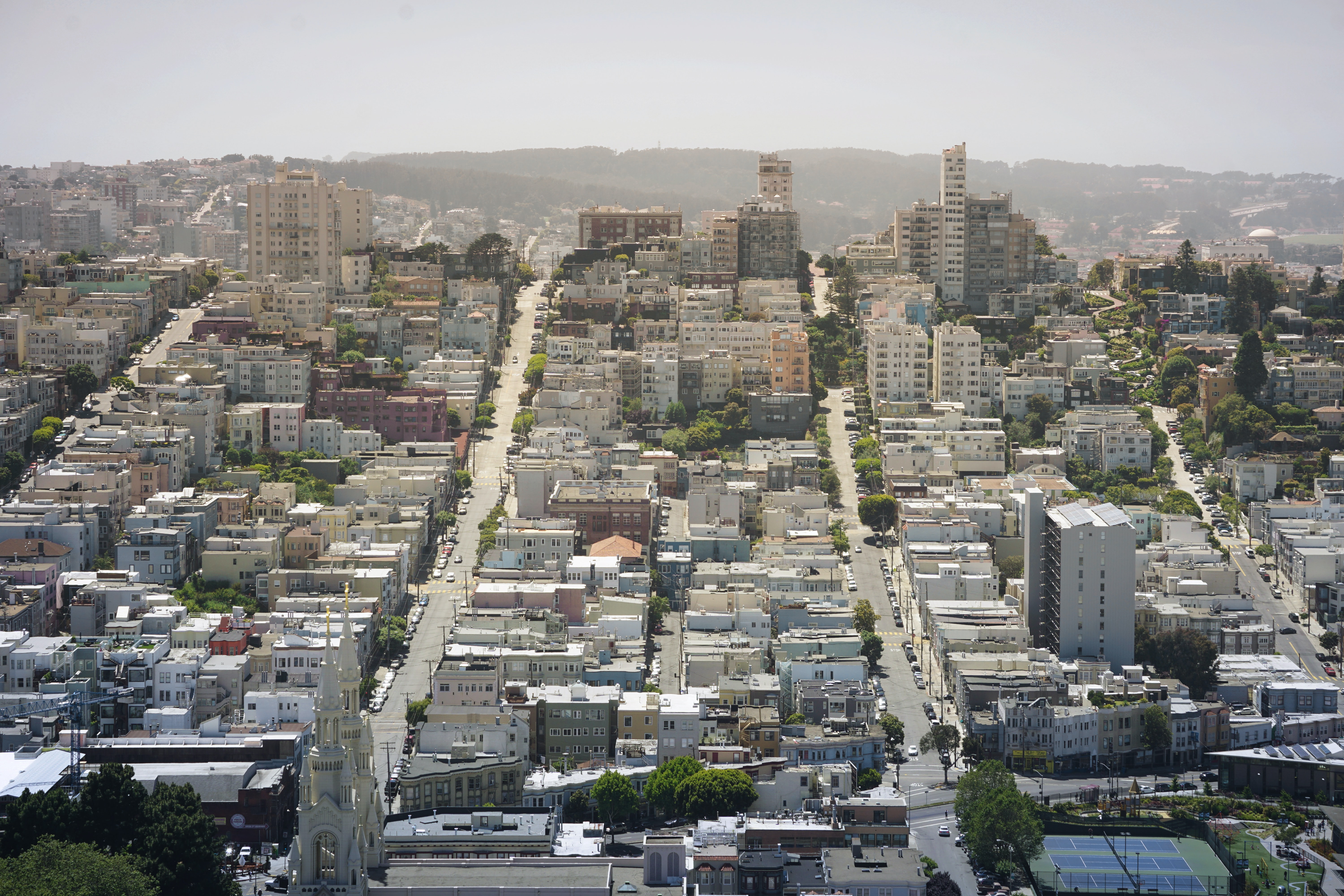 Aerial drone shot of San Francisco architecture and landmarks