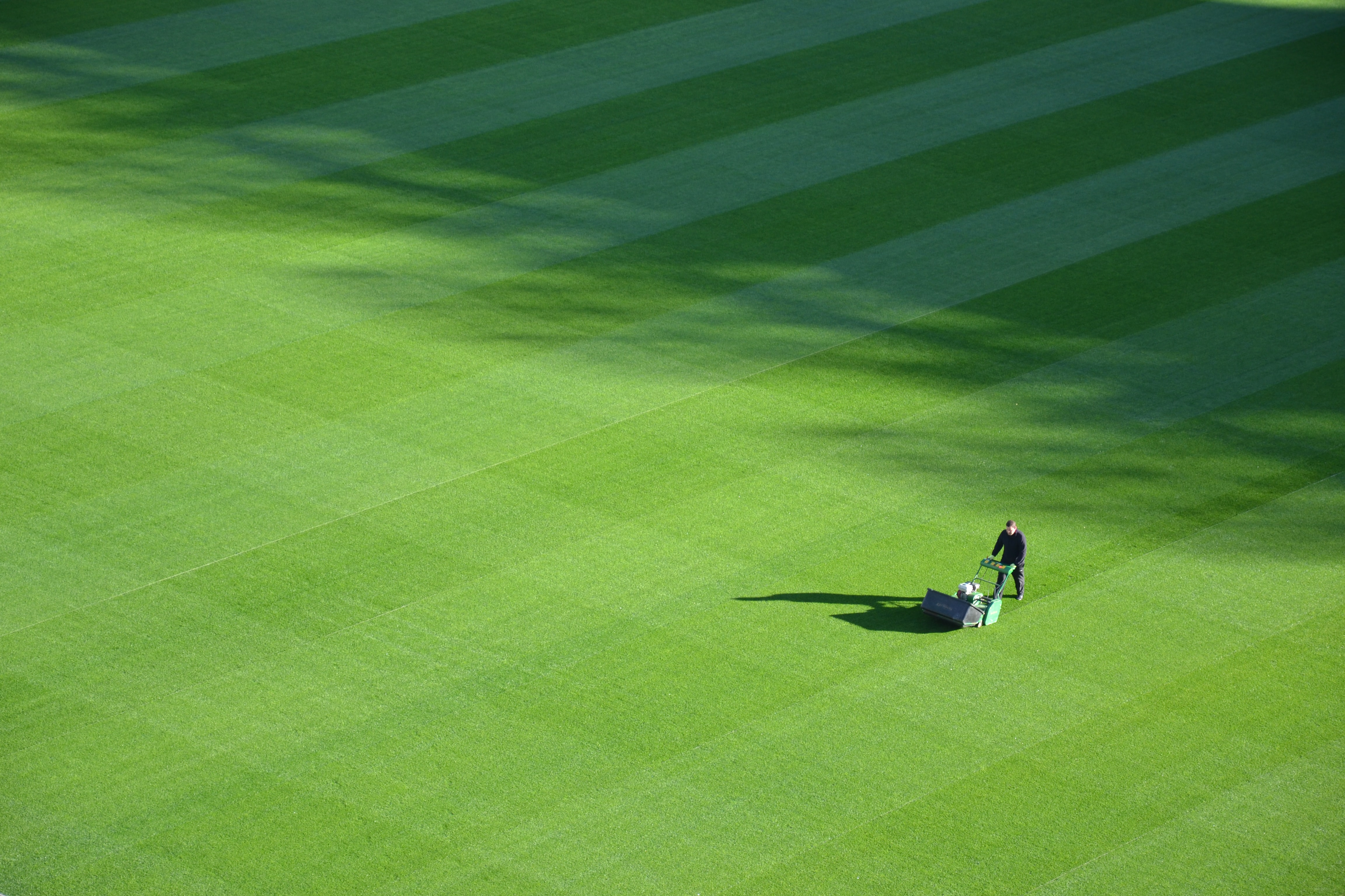 A person mowing the grass at Croke Park