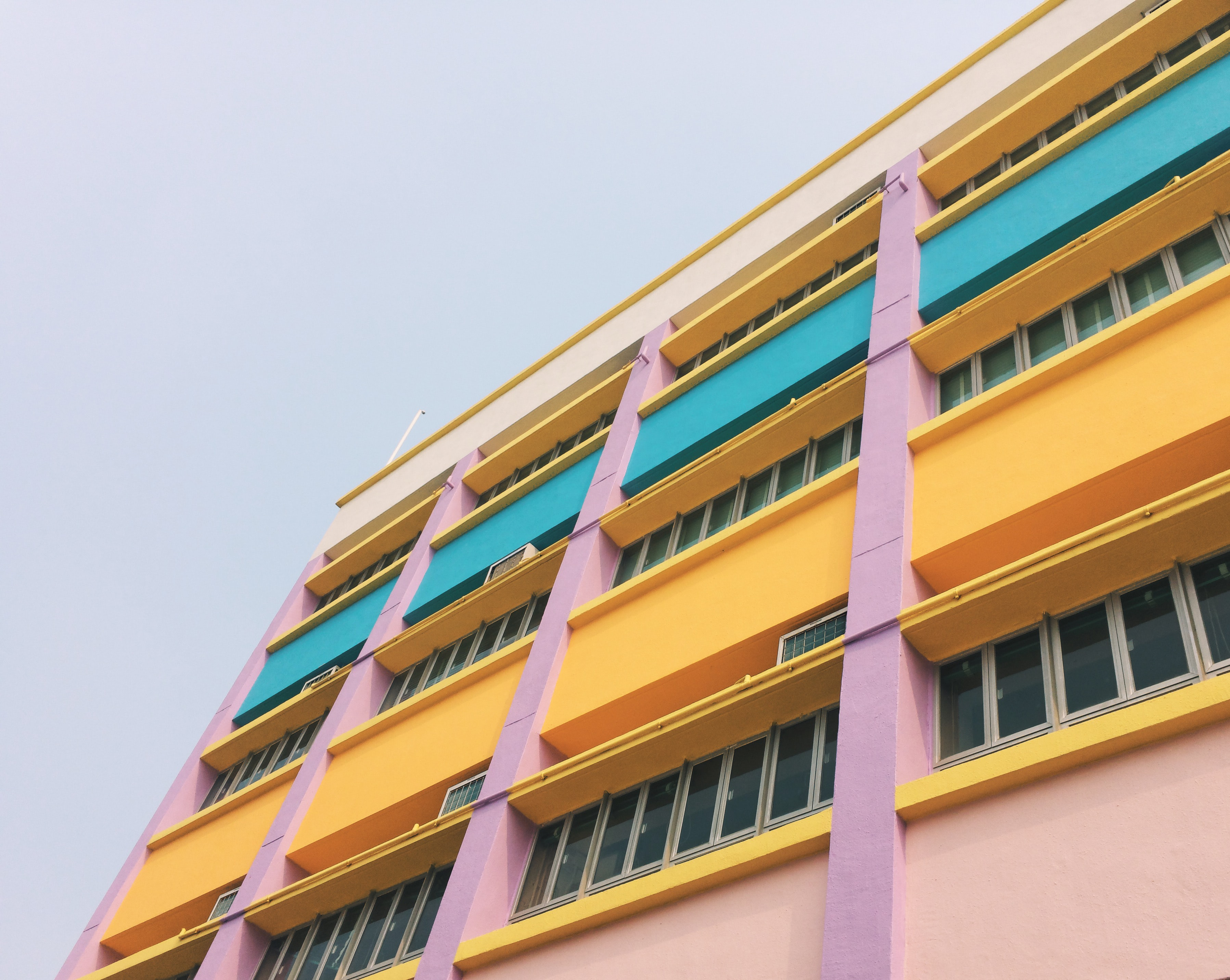 low angle photography of colorful building