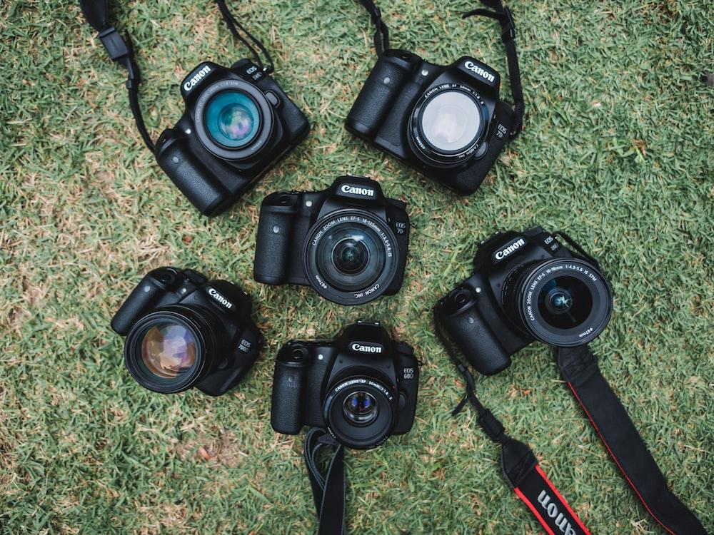 six black Canon DSLR cameras on green grass field