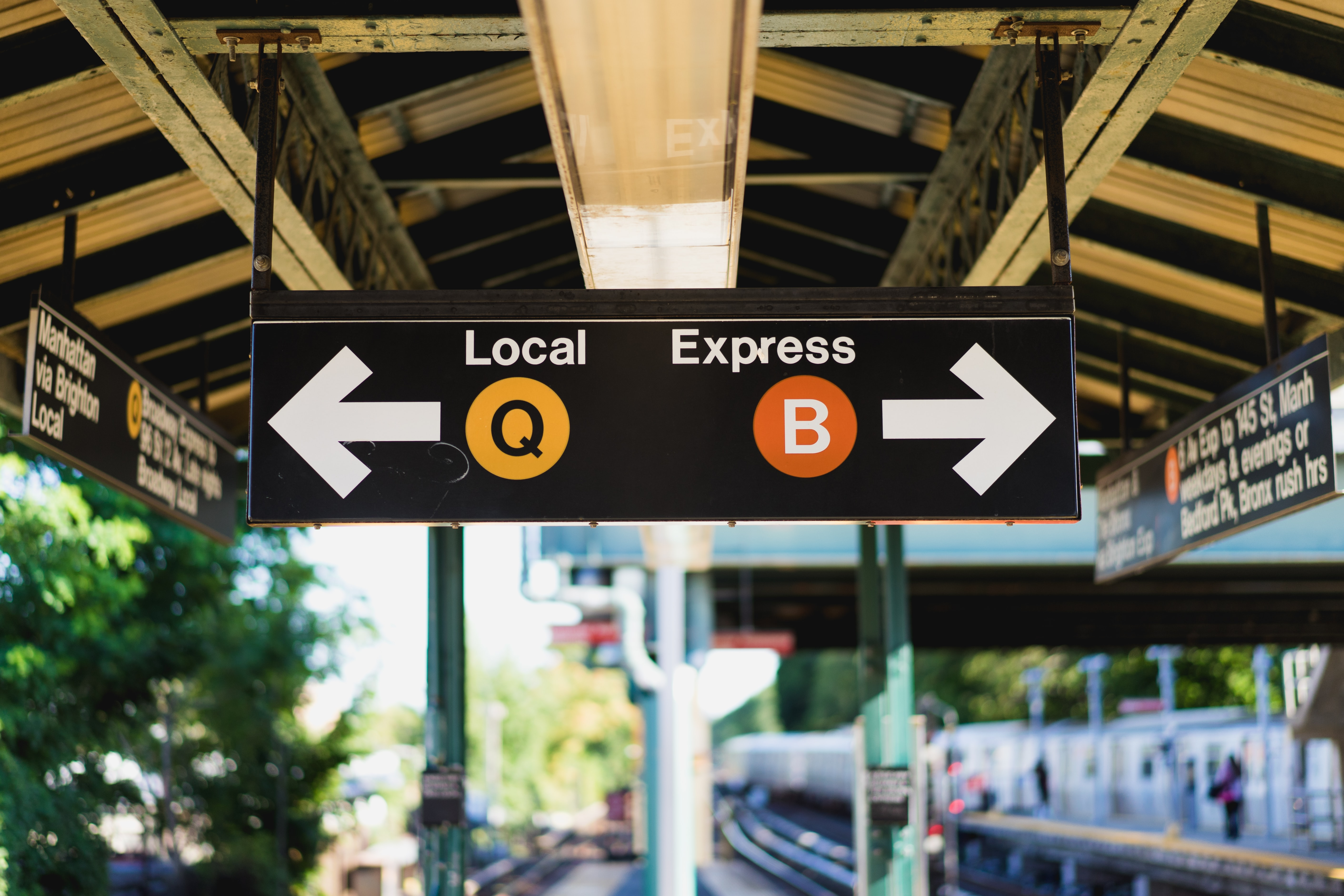 Train station signs tell commuters which way to go