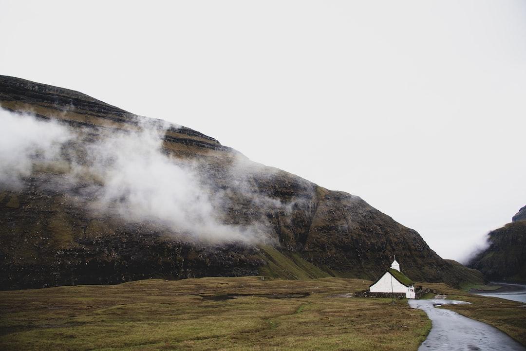 Grass roofed church in picturesque Saksun, Streymoy, Faroe Islands.