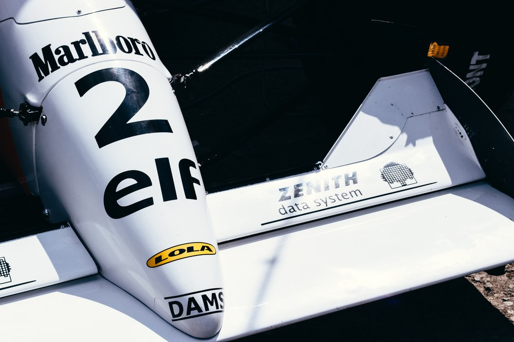 white Marlboro 2 Elf Formula 1 racing car