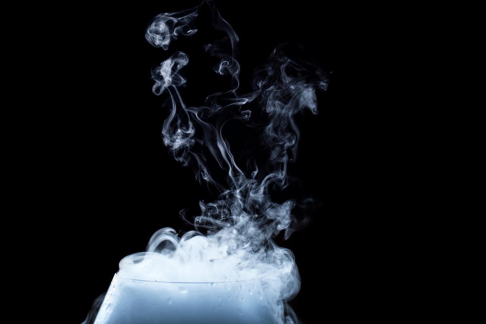 white smoke on glass