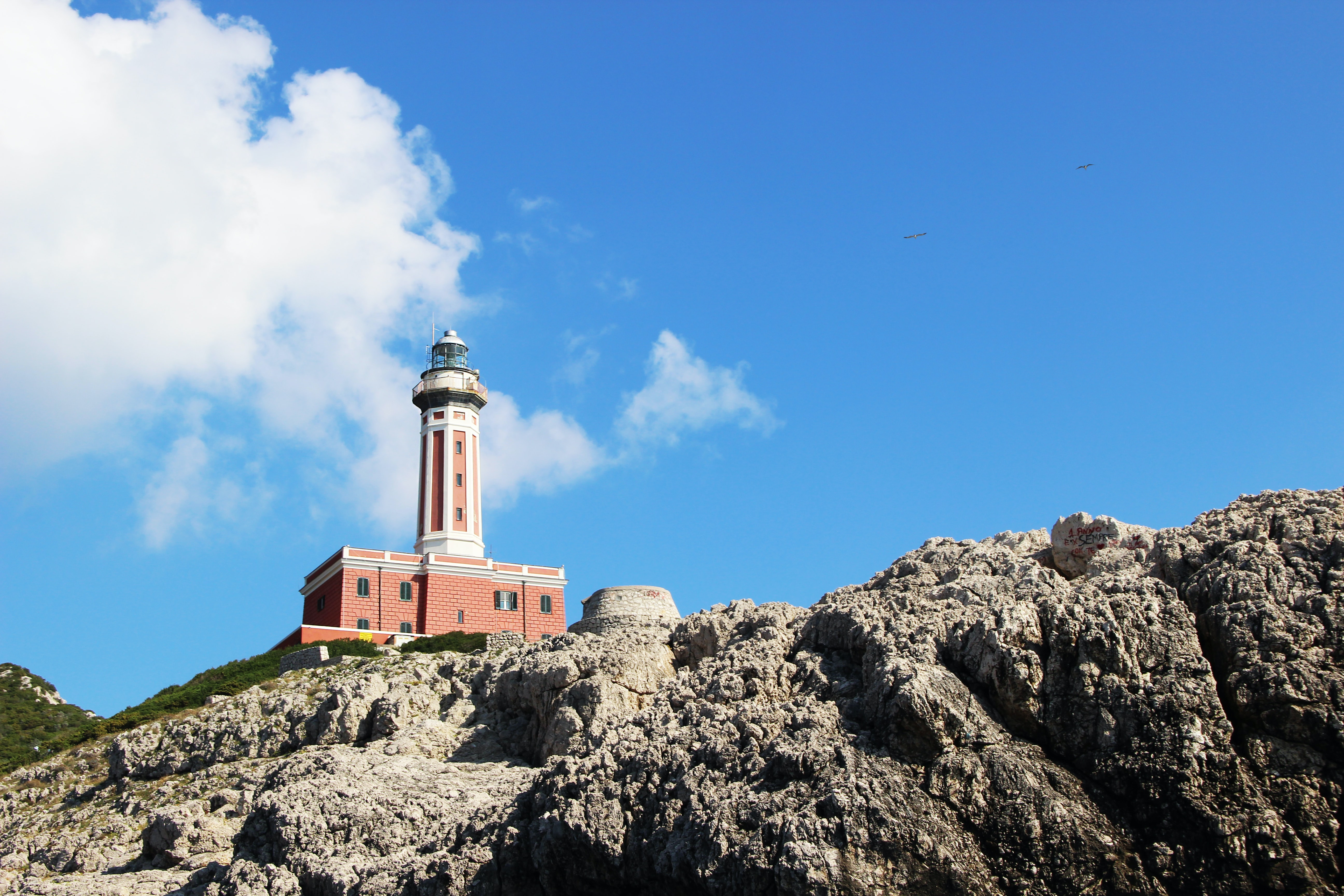 brown and white concrete lighthouse on rock formation during daytime