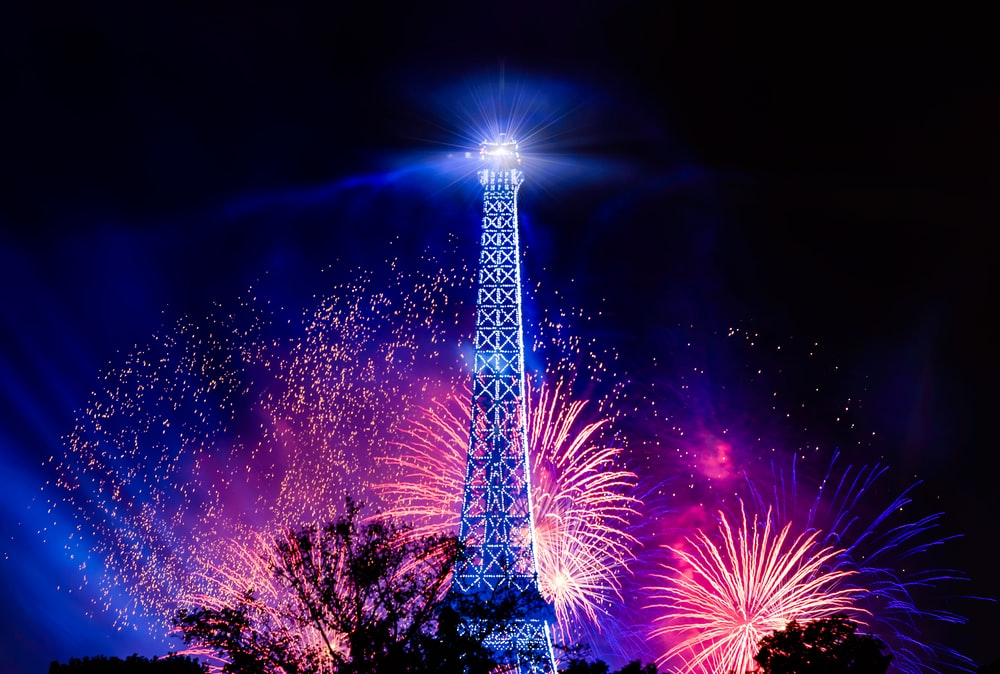 photo of eiffel tower with fireworks background