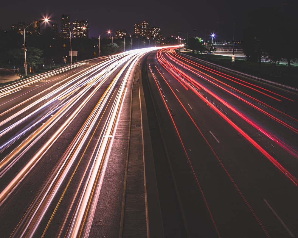 lighting photography of road
