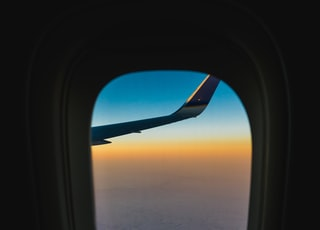 airplane window view of sky in travel photography