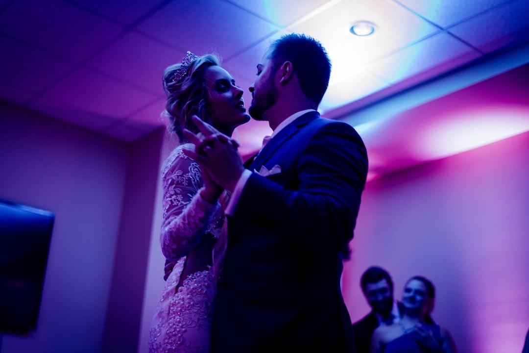Pink-lighted wedding dance