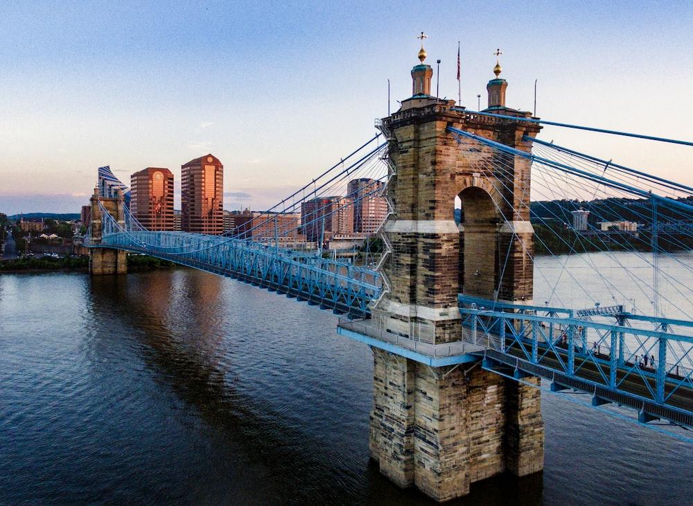 brown and blue concrete bridge