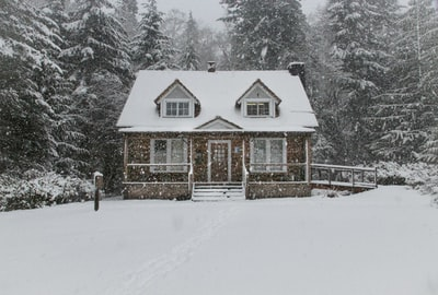 house filled with snow log home zoom background