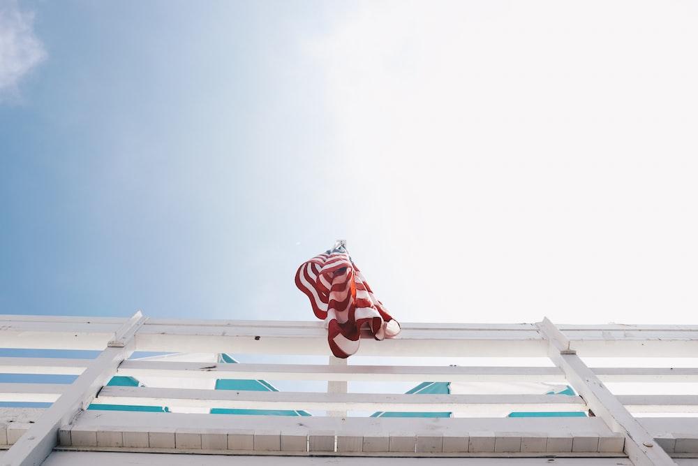 low angle photography of USA flag