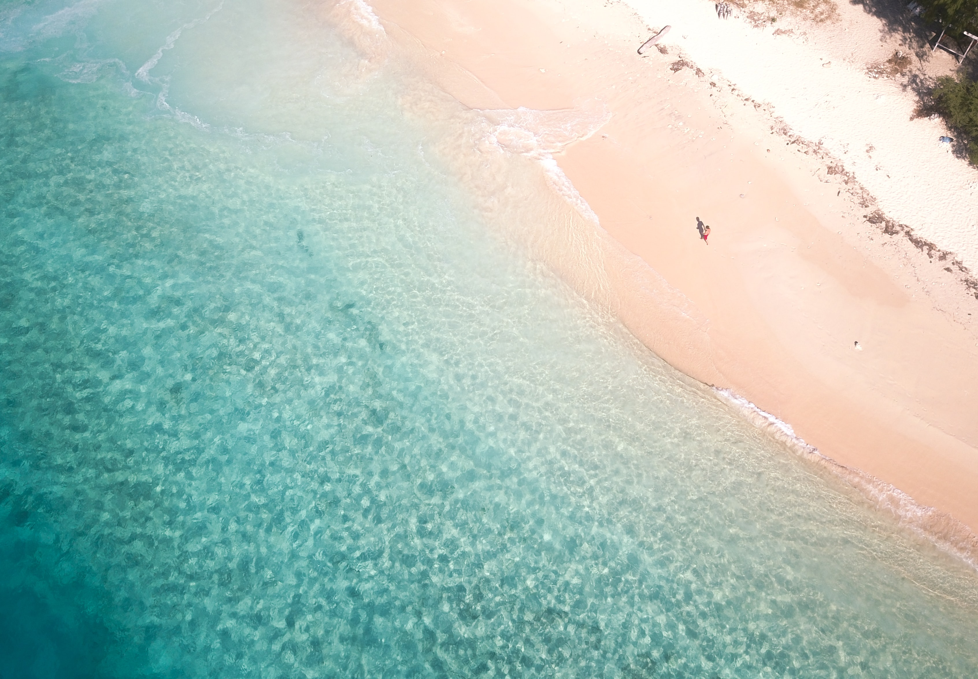 areal photography of person on white sand beach