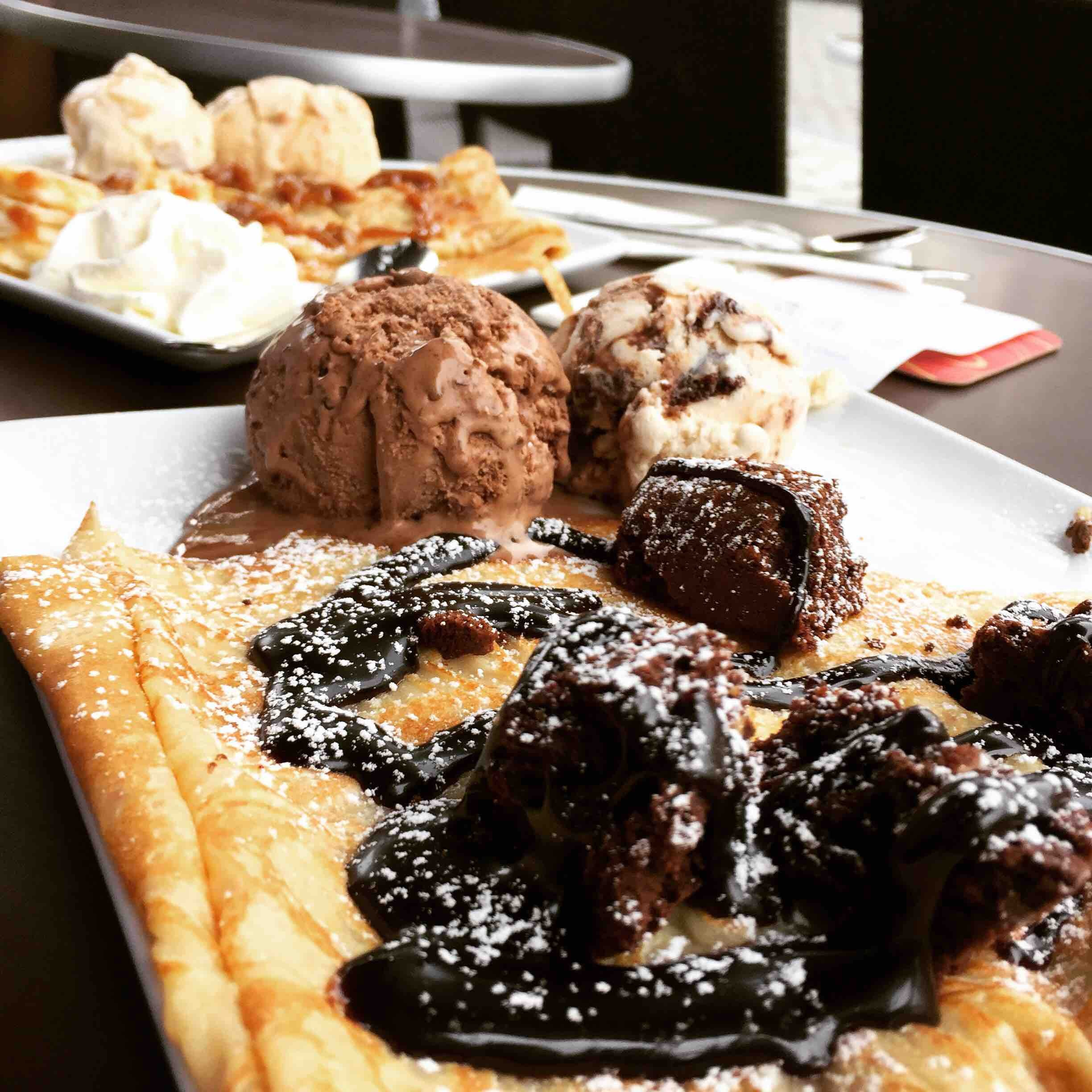 Chocolate lava cake and other desserts.