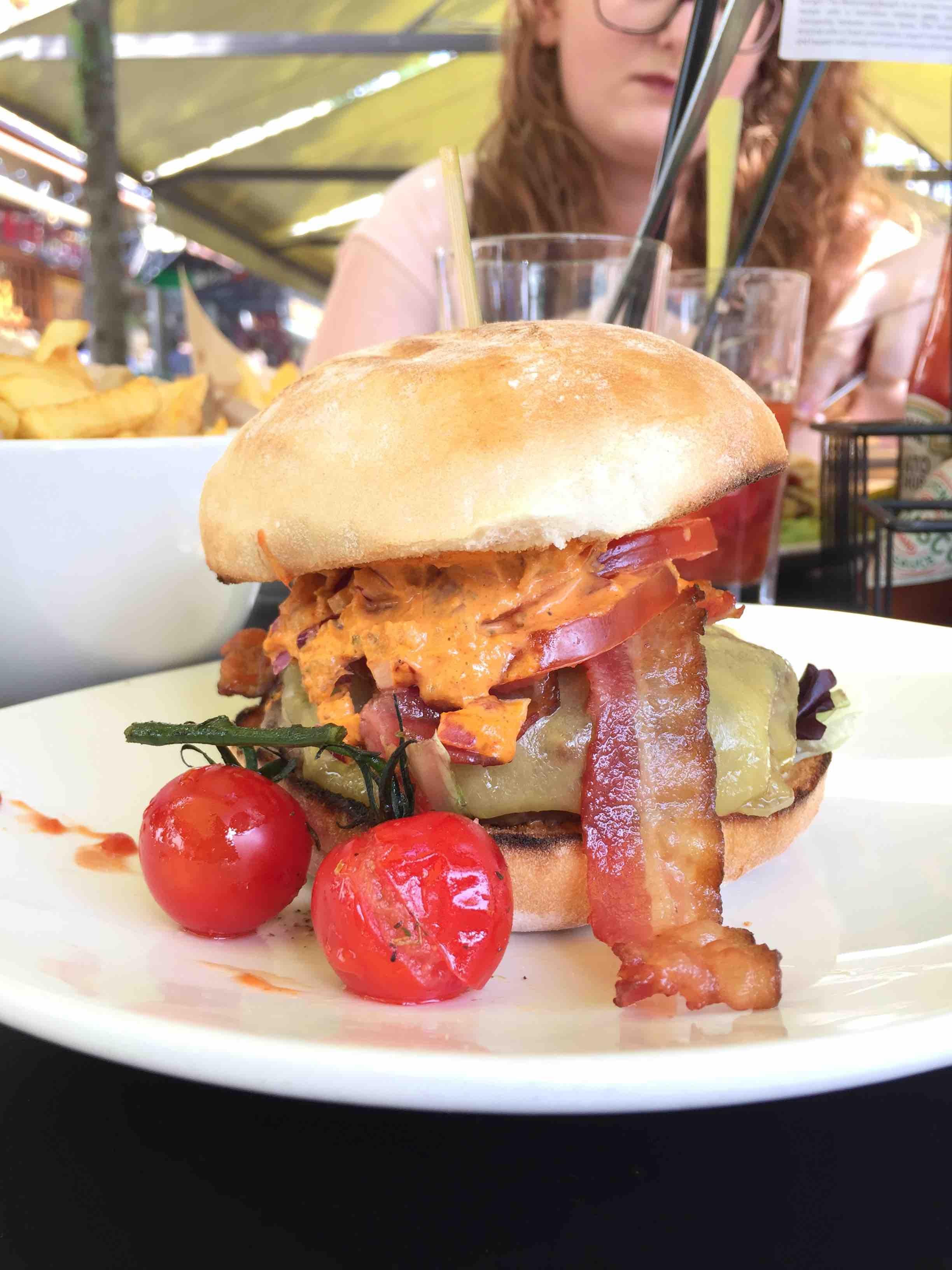 A bacon cheeseburger.