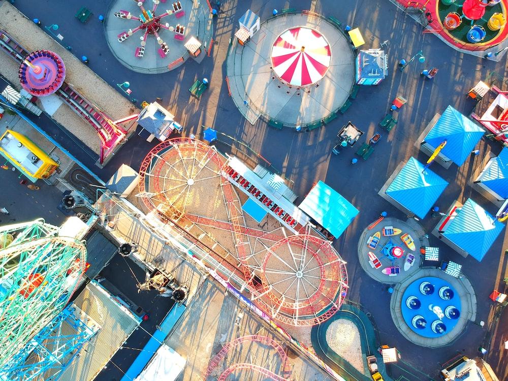 high angle photography of circus