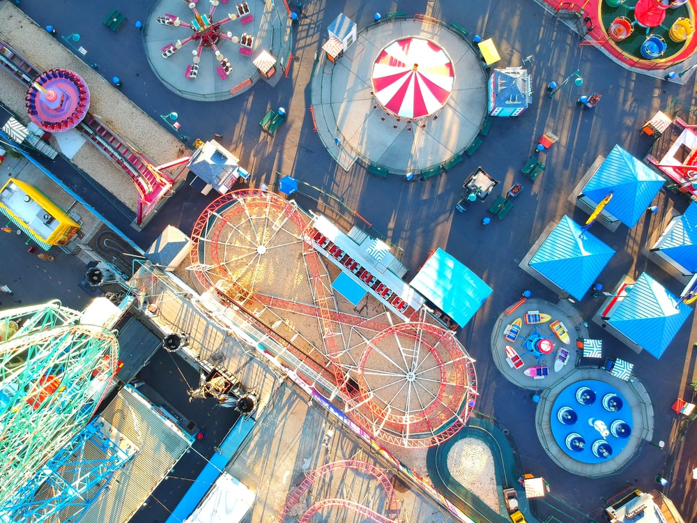 high angle photography of circus