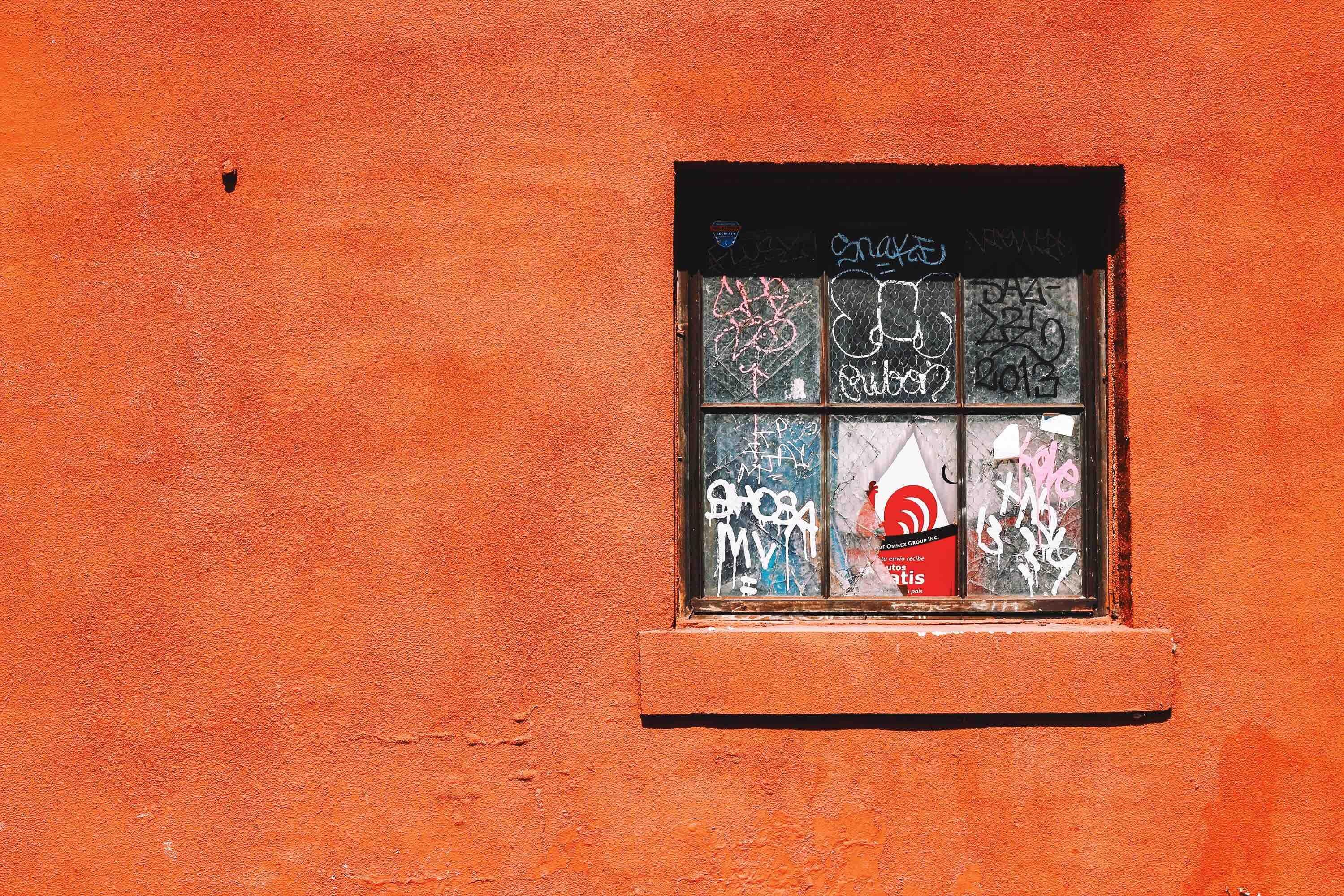 black frame glass window