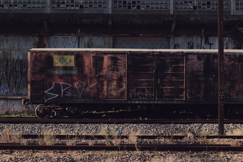 vintage train on rail
