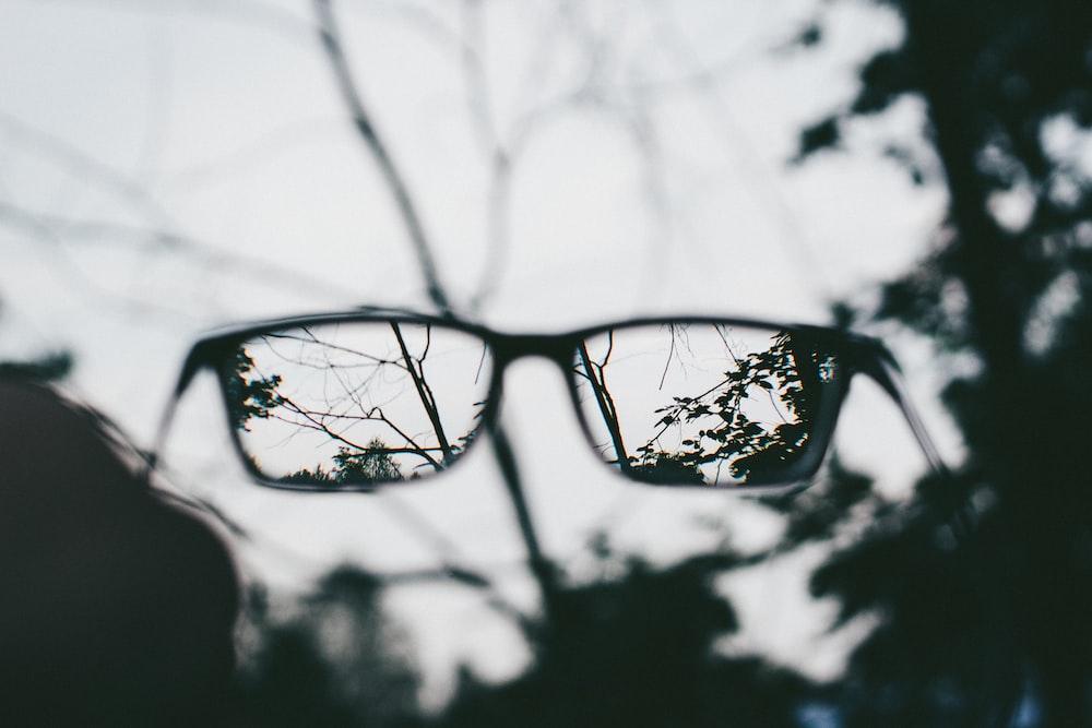 eyeglasses with black frames photography