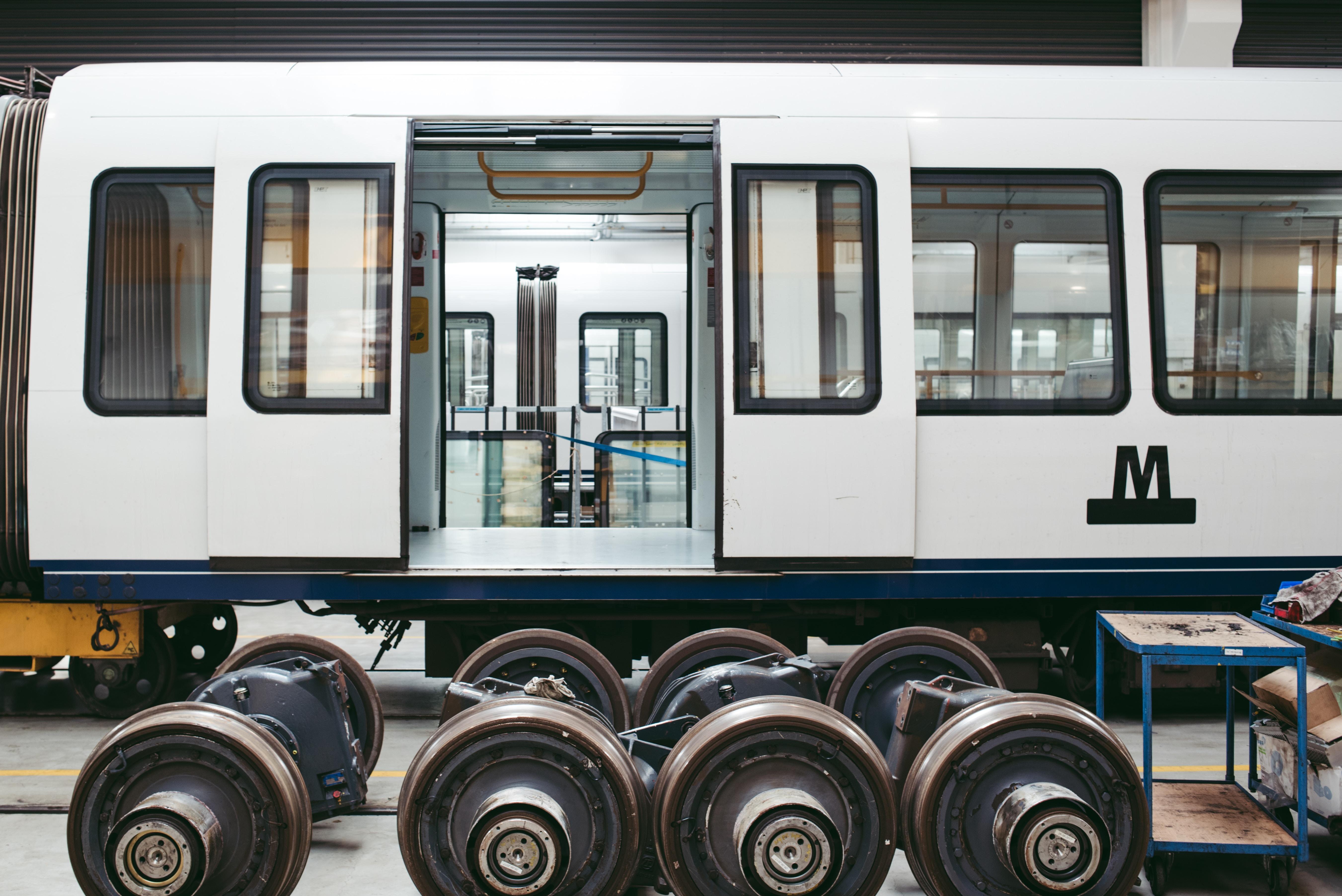 Subway car in a hangar for routine repairs