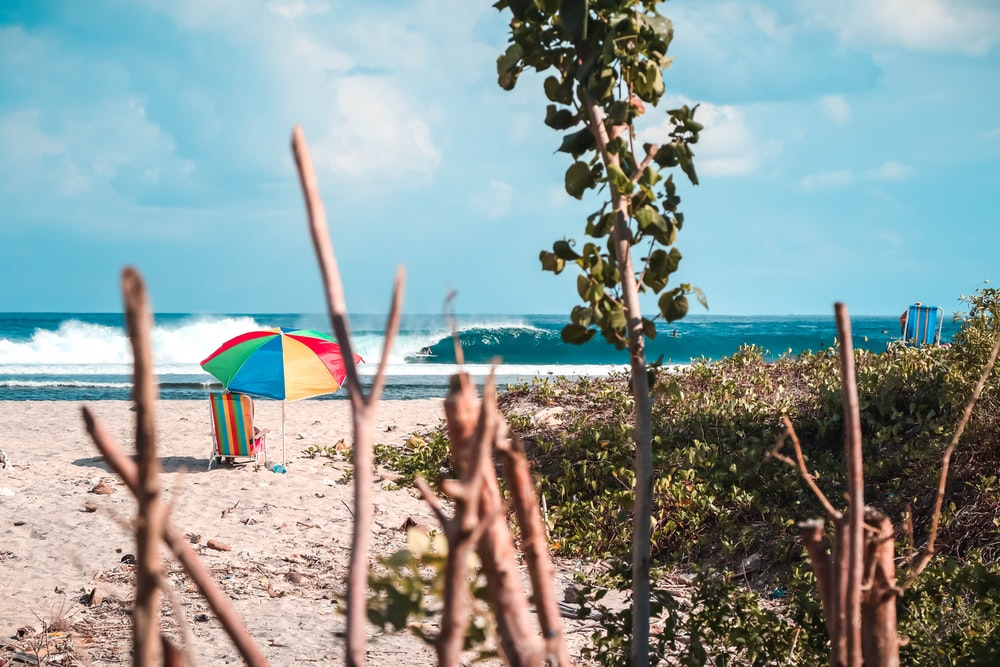 red, yellow, blue, and green parasol on seashore
