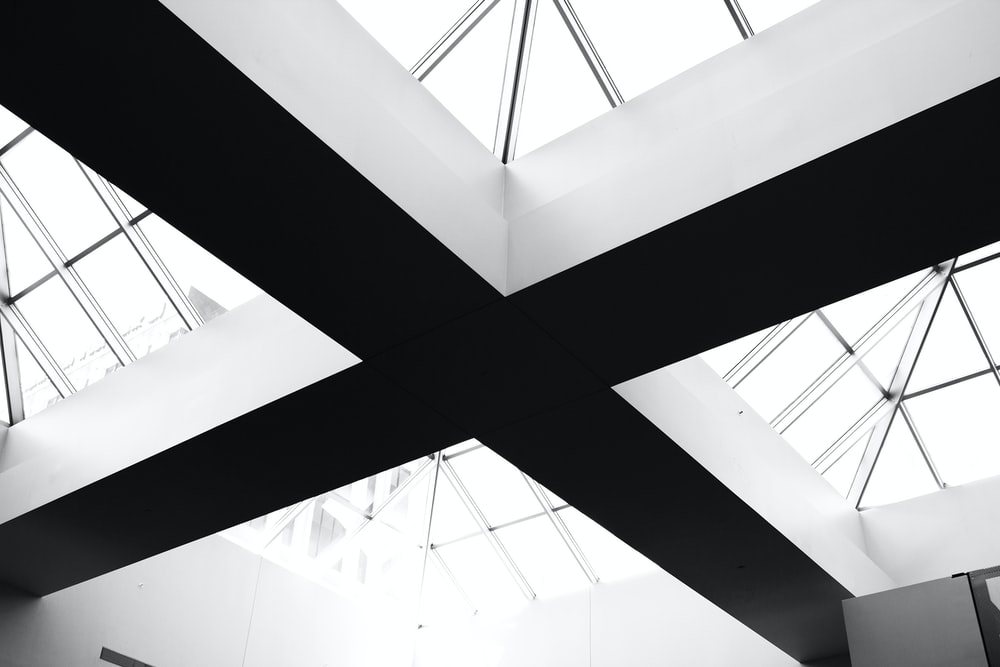 black and gray ceiling in shallow focus lens photography