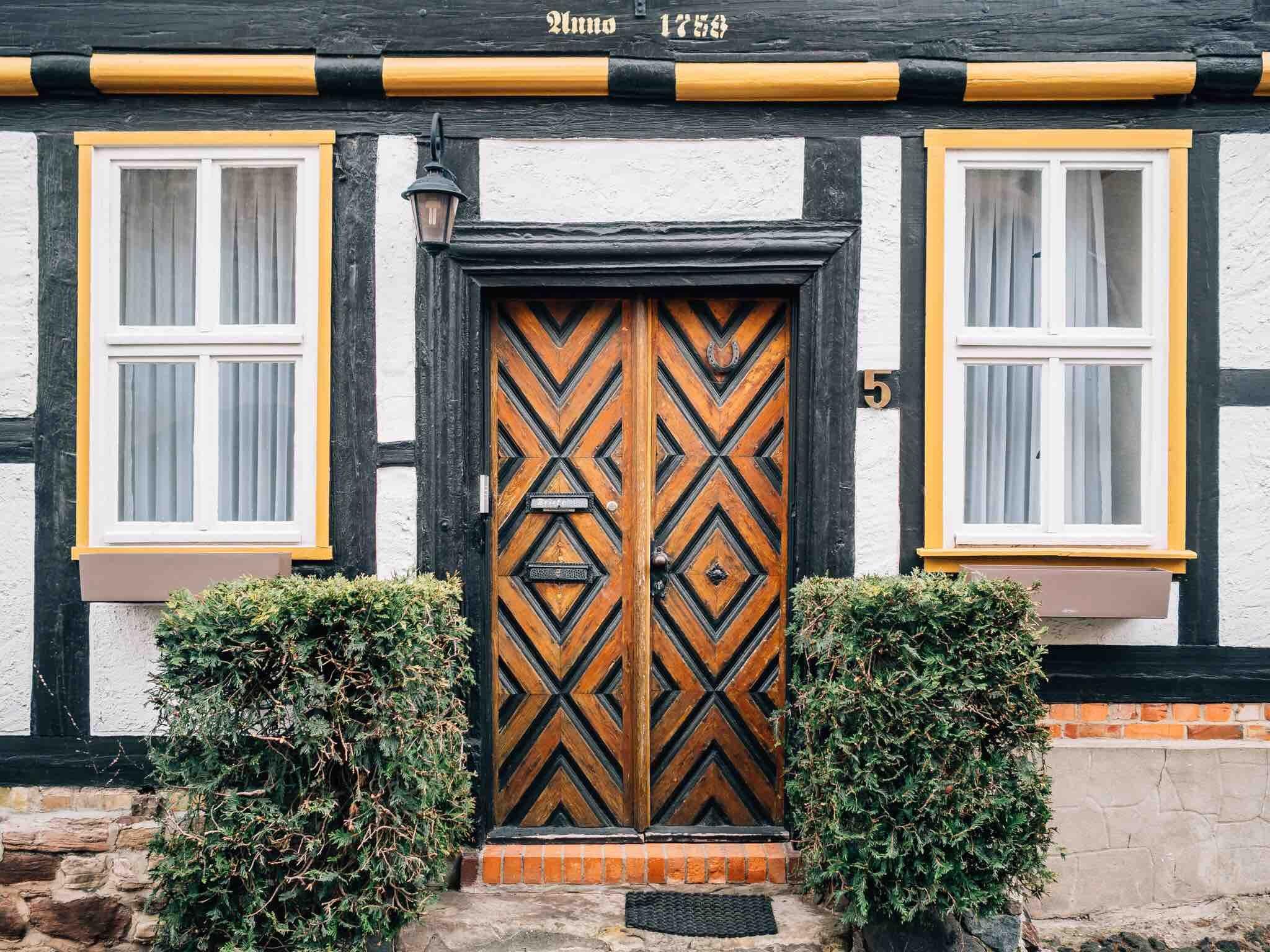 brown and black wooden door