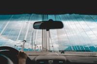 person inside car taking photo of bridge