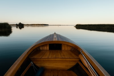landscape photography of brown boat surrounded by body of water during daytime sweden teams background