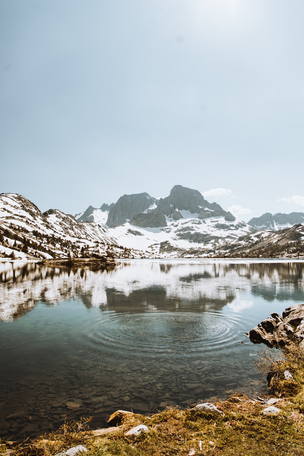 body of water surrounded by mountains covered with snow during daytime