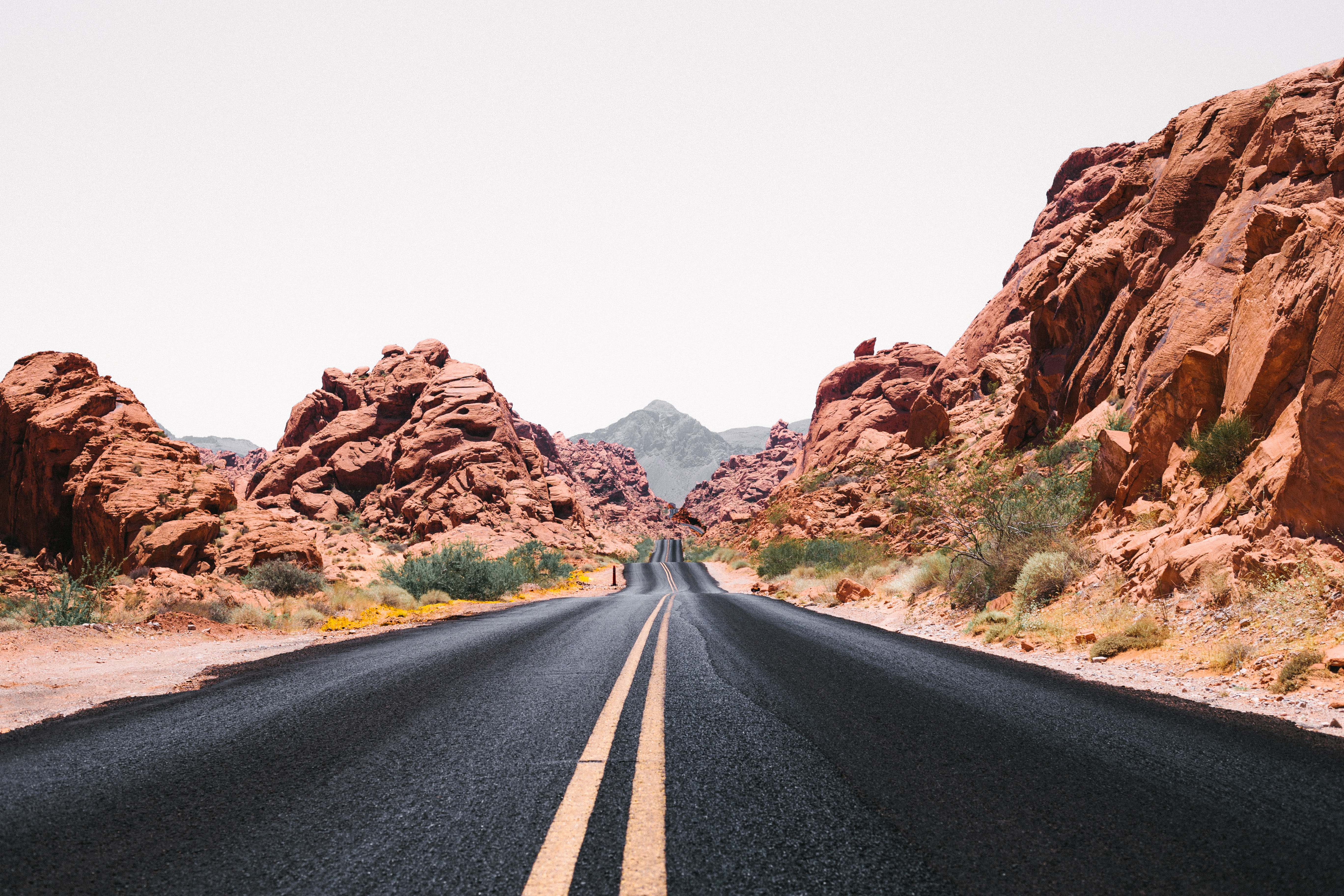 Open highway road through the desert of Valley of Fire State Park