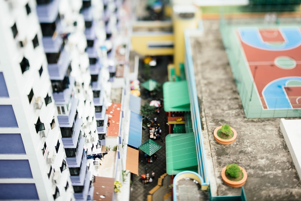 assorted-color city view scale model