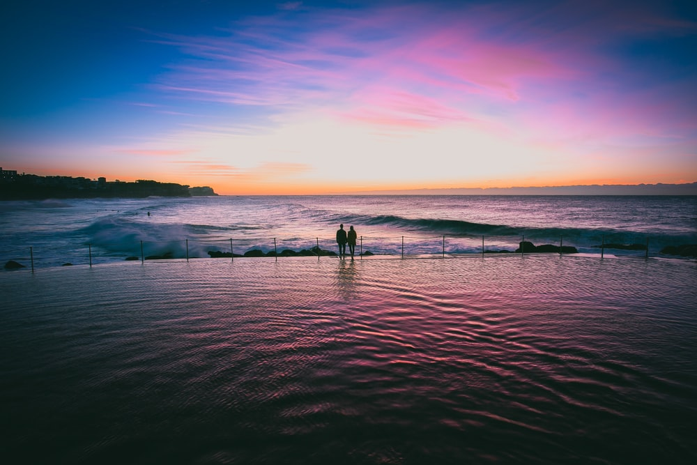 silhouette photo of couple at seashore