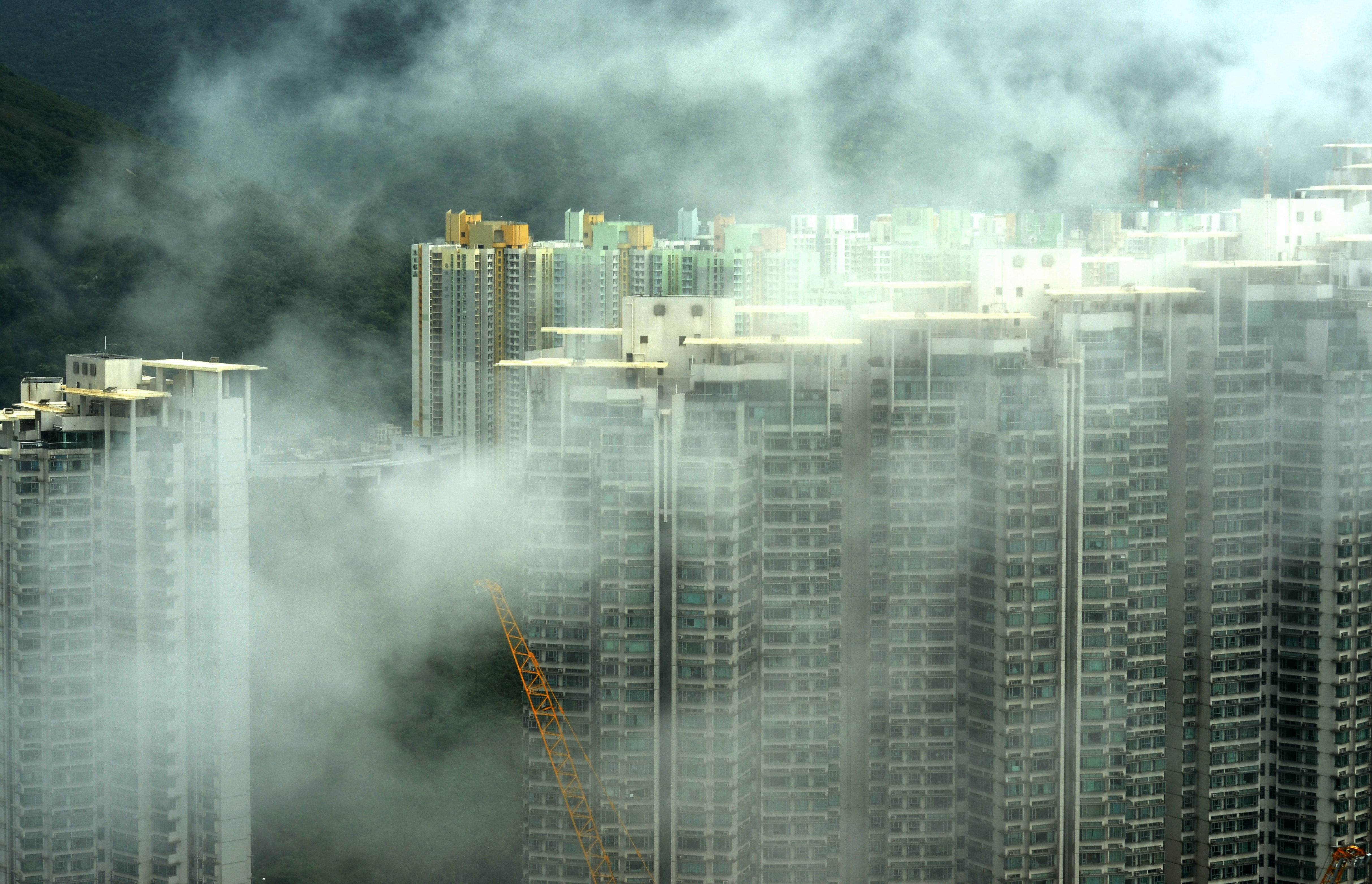 buildings with fog