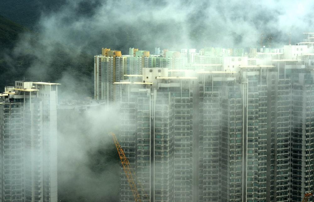buildings with fog