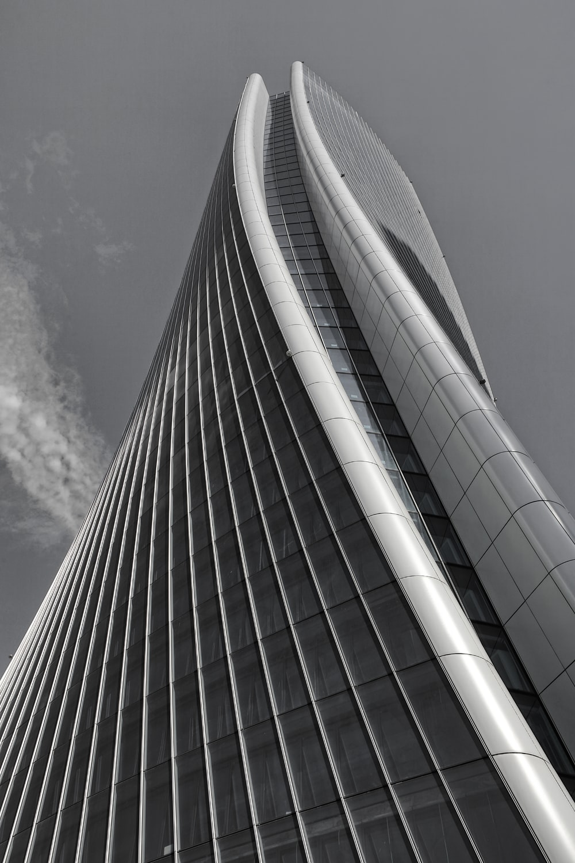 black and white building illustration