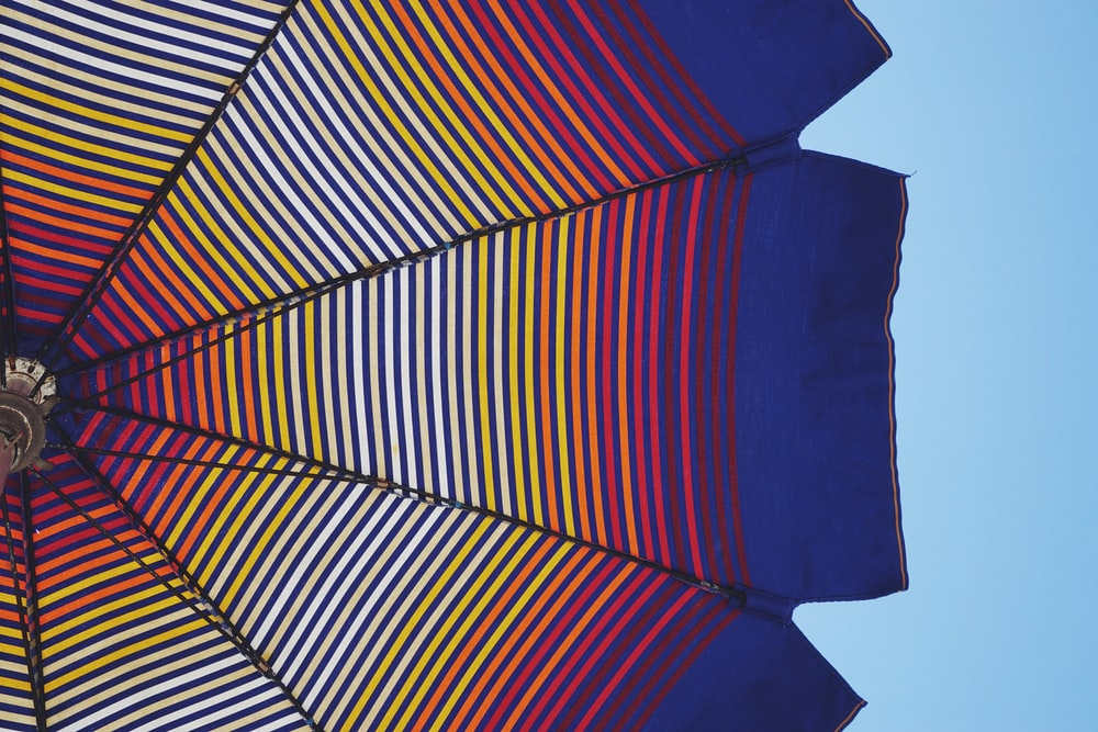 blue and multicolored umbrella