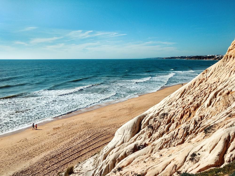 brown sand sea shore