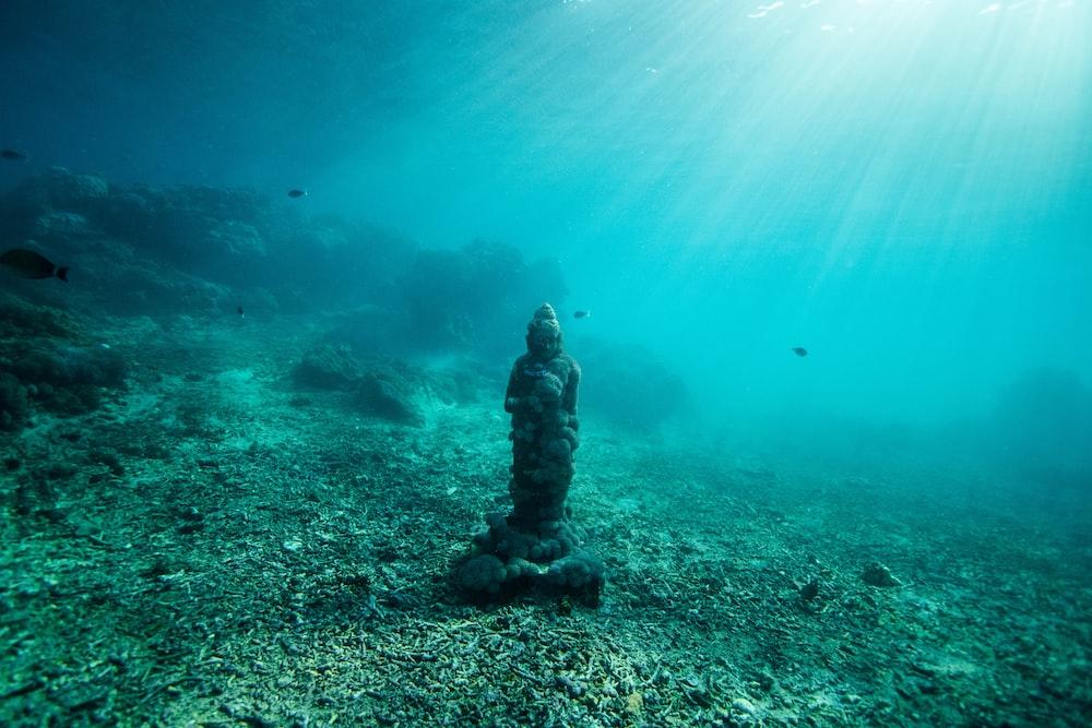 statue under ocean water
