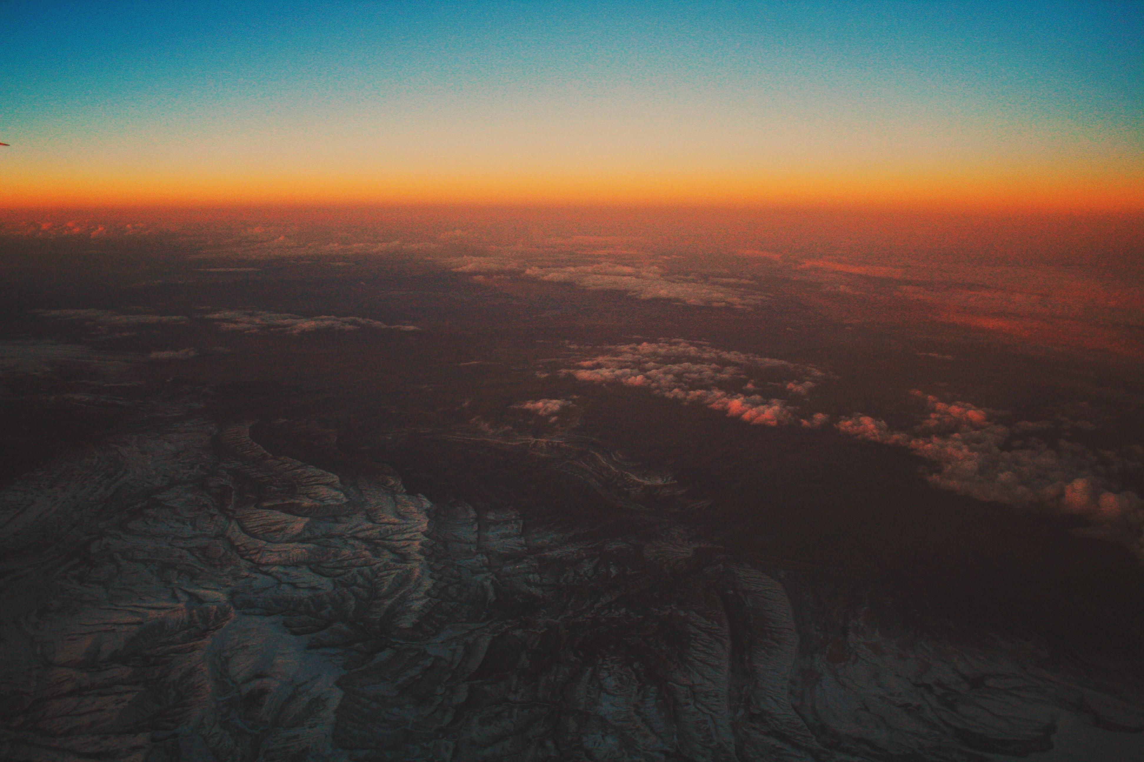 View above ridges captured over the sun kissed horizon