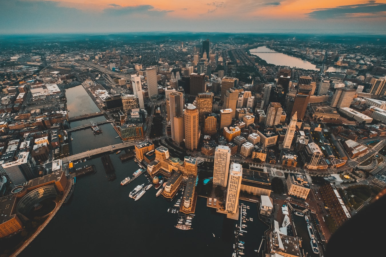 an arial view of Boston, Massachusetts