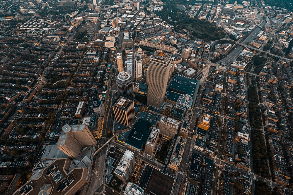 bird's-eye view photography of concrete high-rise buildings