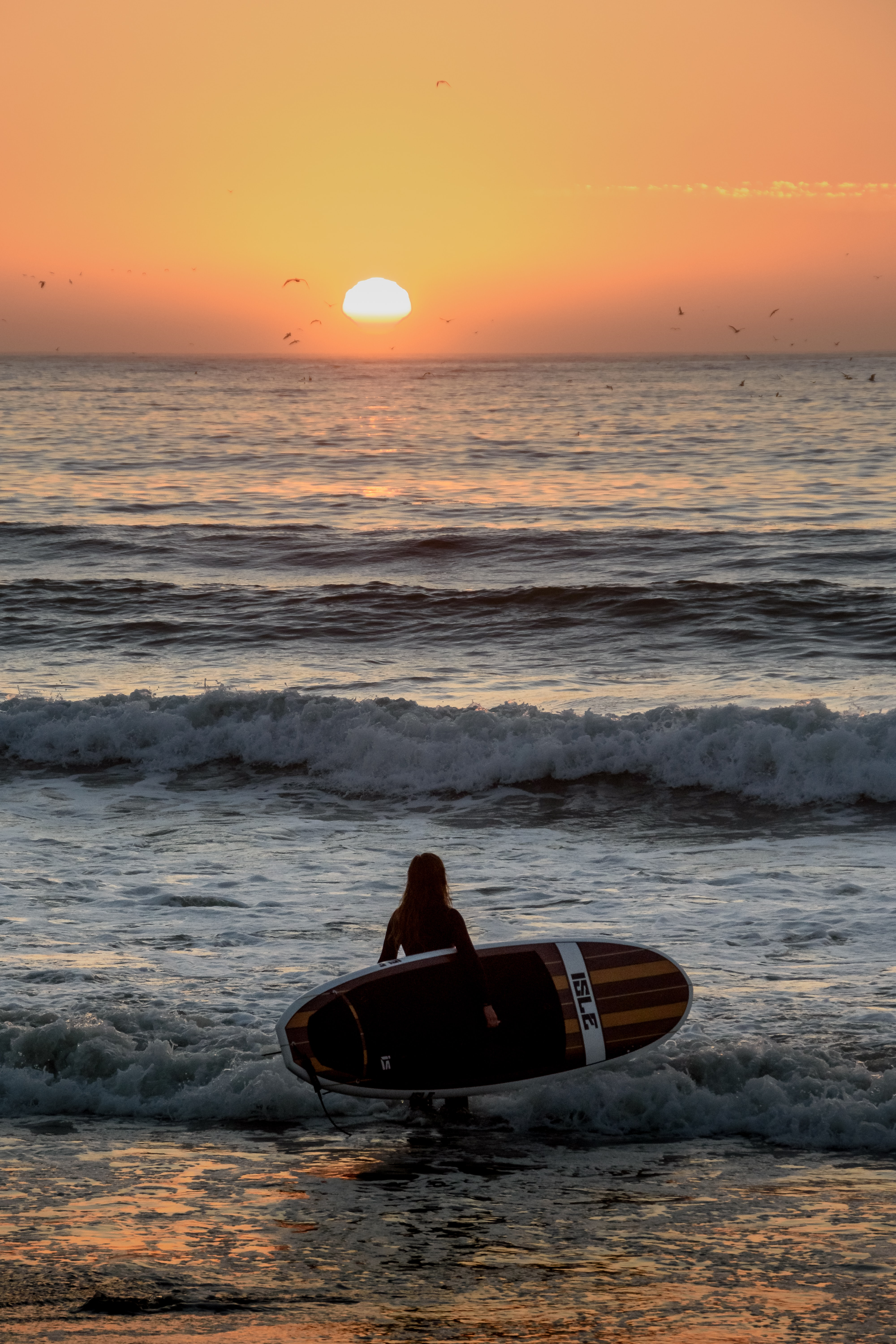 Woman surfer holding a surfboard standing in a shallow water during sunset at Pacifica State Beach