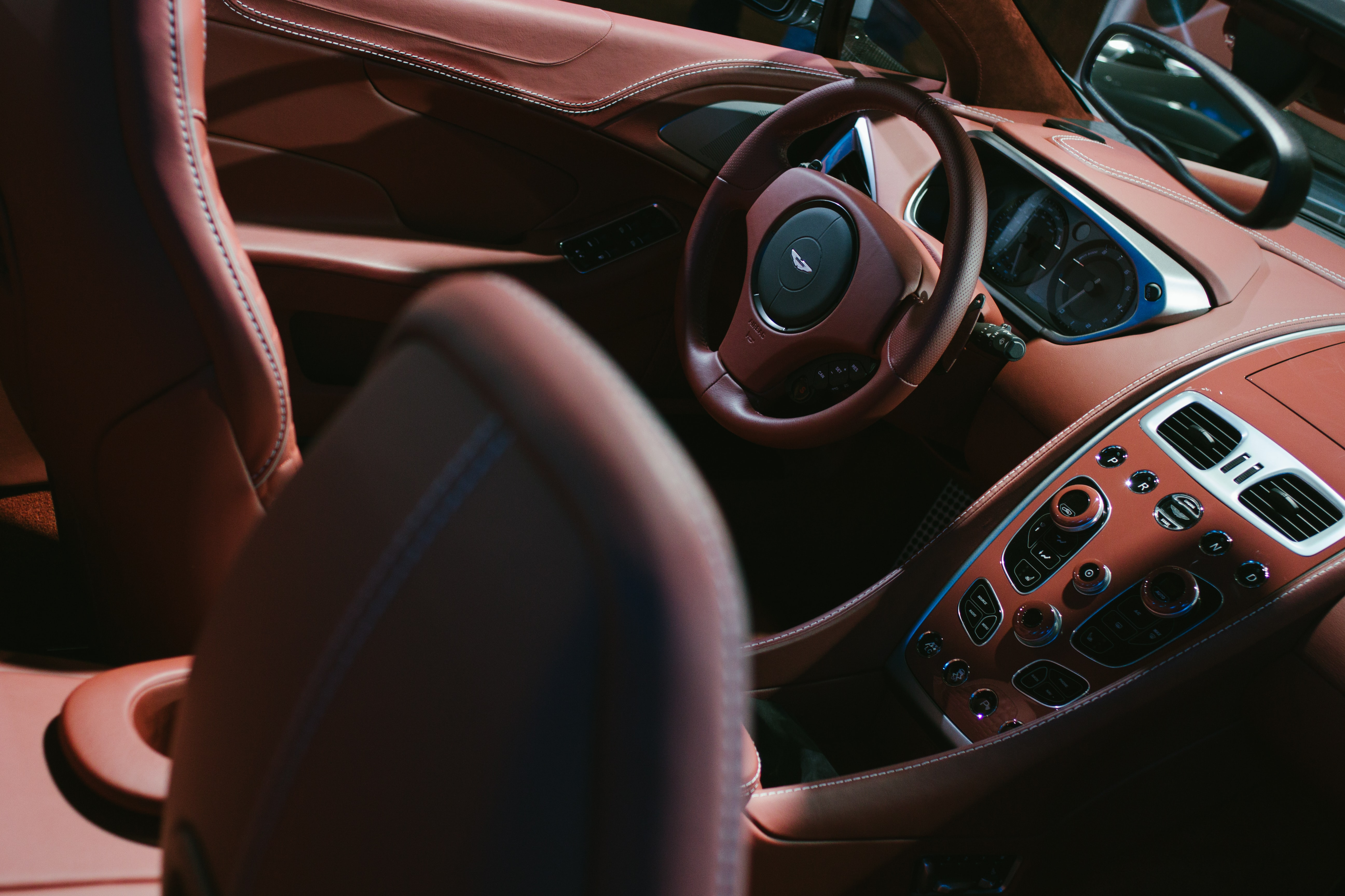 Luxury car with red leather interior