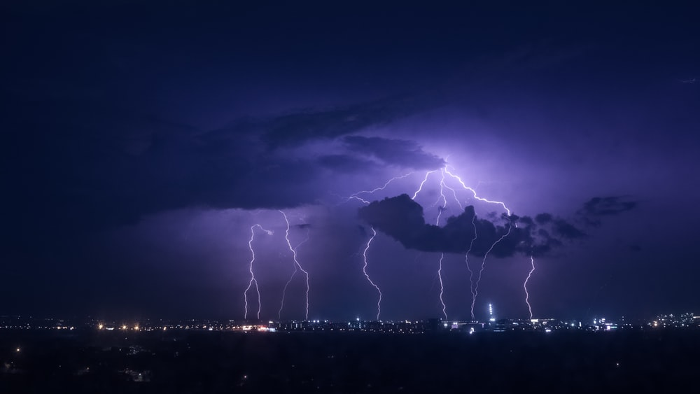 lightning at night time
