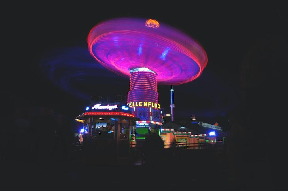 lighted amusement park during night