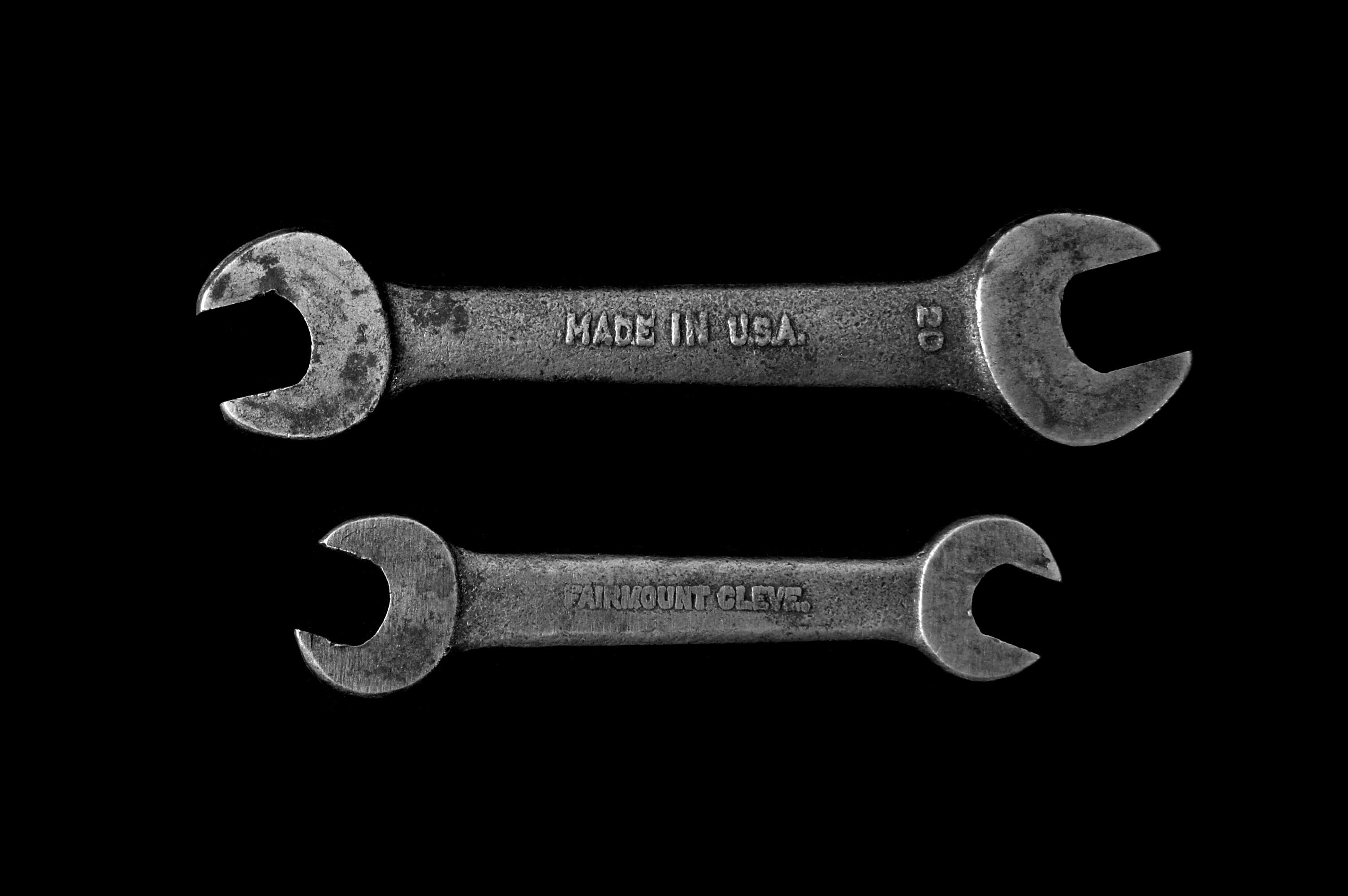 "An overhead shot of two wrenches with a ""Made in U.S.A"" engraving"