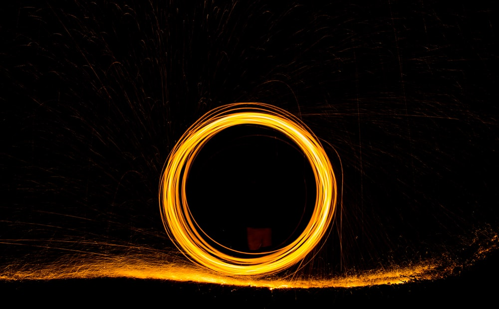 steel wool photography during nighttime
