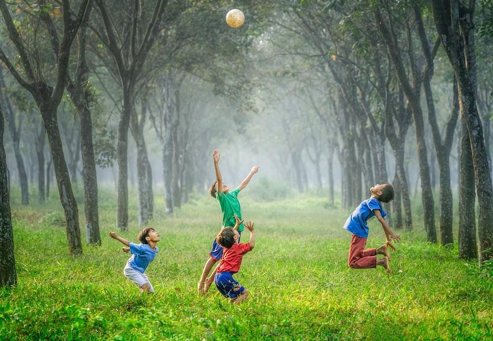 four boy playing ball on green grass